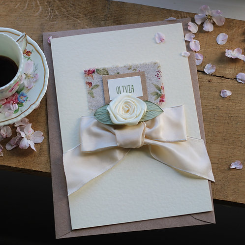 Handmade Birthday Card, Personalised Shabby Chic Ditsy Floral