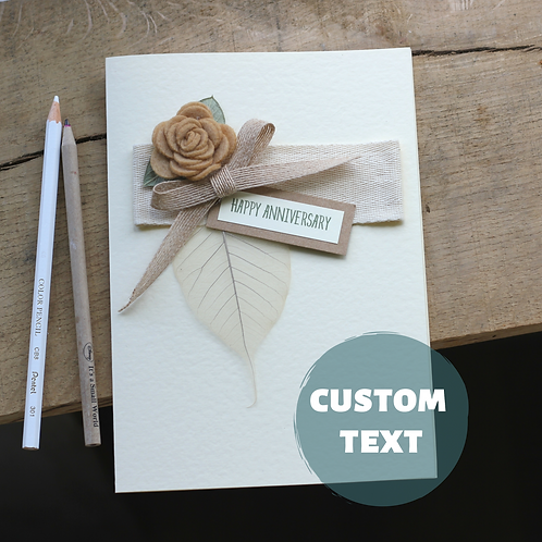 Custom Anniversary Card, Understated Timeless Elegance, Beige Rose