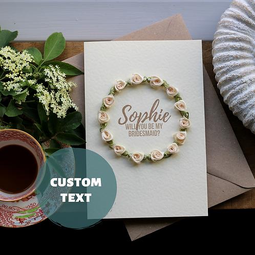 Bridesmaid Proposal Card, Handmade Wreath Of Cream Roses