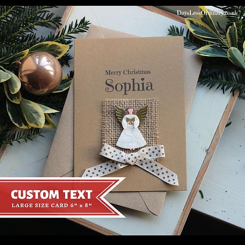 Angel Christmas Card, Luxury Single Christmas Card For Daughter