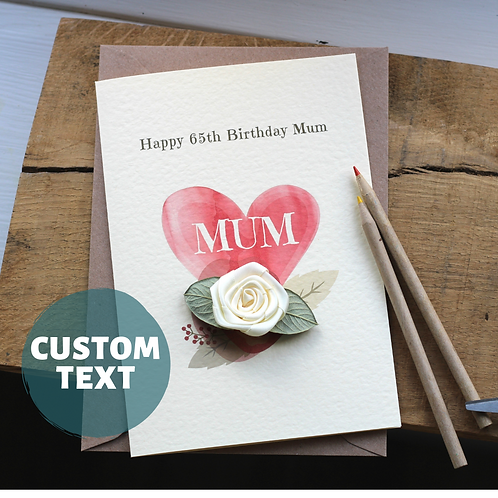 Personalised Birthday Card, Luxury Handmade Card Mum