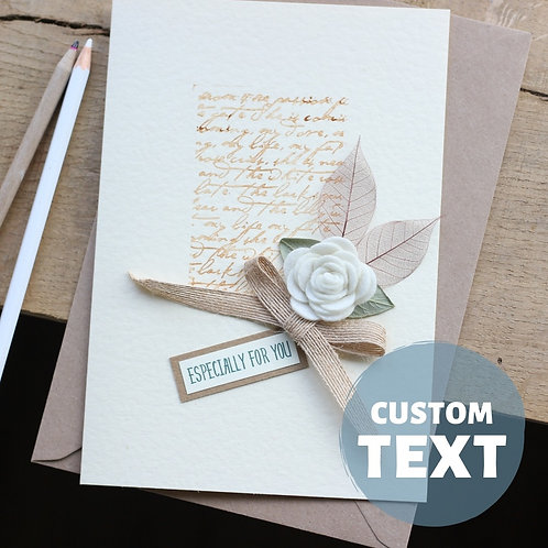 Handmade Card for Mum, White Floral & Sepia Vintage Script, Mother's Day Gift