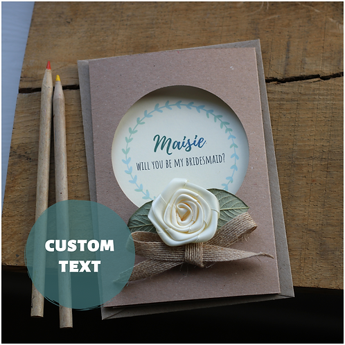 Stylish Bridesmaid Proposal Card, Rustic Cream Rose
