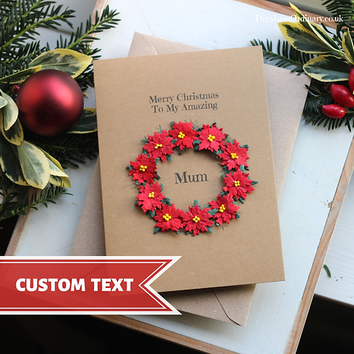 Red Floral Wreath Christmas Card For Mum, Parents, Grandparents, Personalised
