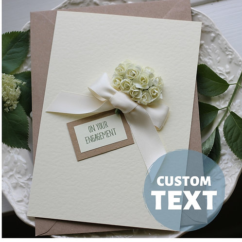HANDMADE Engagement Card for Best Friend, Luxury Card For Engaged Friend