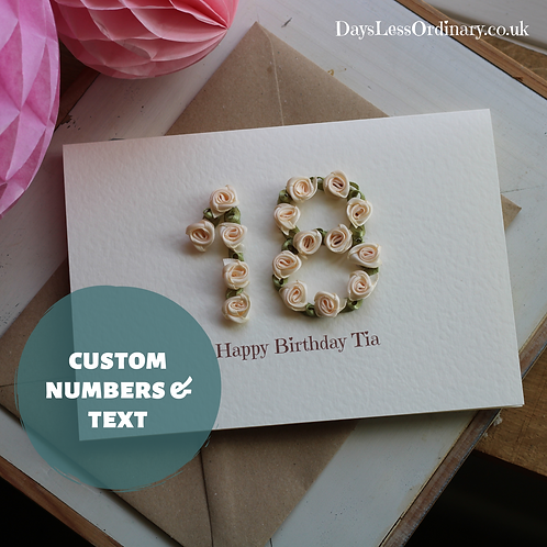 Daughter 18th Birthday Card, Luxury Floral Design, Custom Age and Text