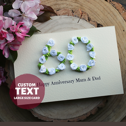 Luxury Handmade 60th Anniversary Card, Diamond Wedding Mum and Dad
