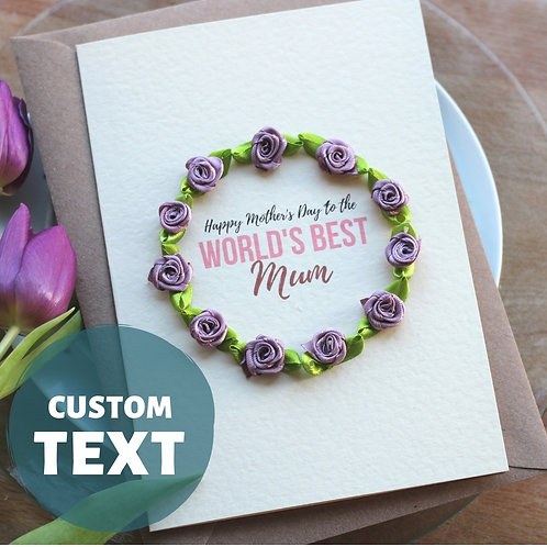 Cute Mother's Day Card, The World's Best Mum Handmade Gift, Purple Floral Wreath
