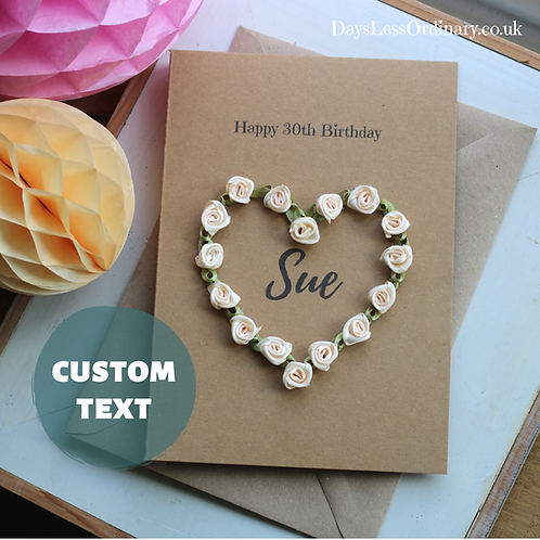 Custom Age Birthday Card, Personalised Happy 30th Gift For Daughter