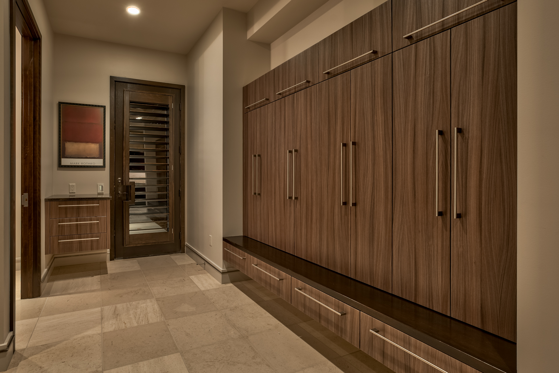 Wood Grained Mud Room Cabinets