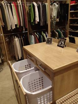 Hamper Drawer in White Oak Closet