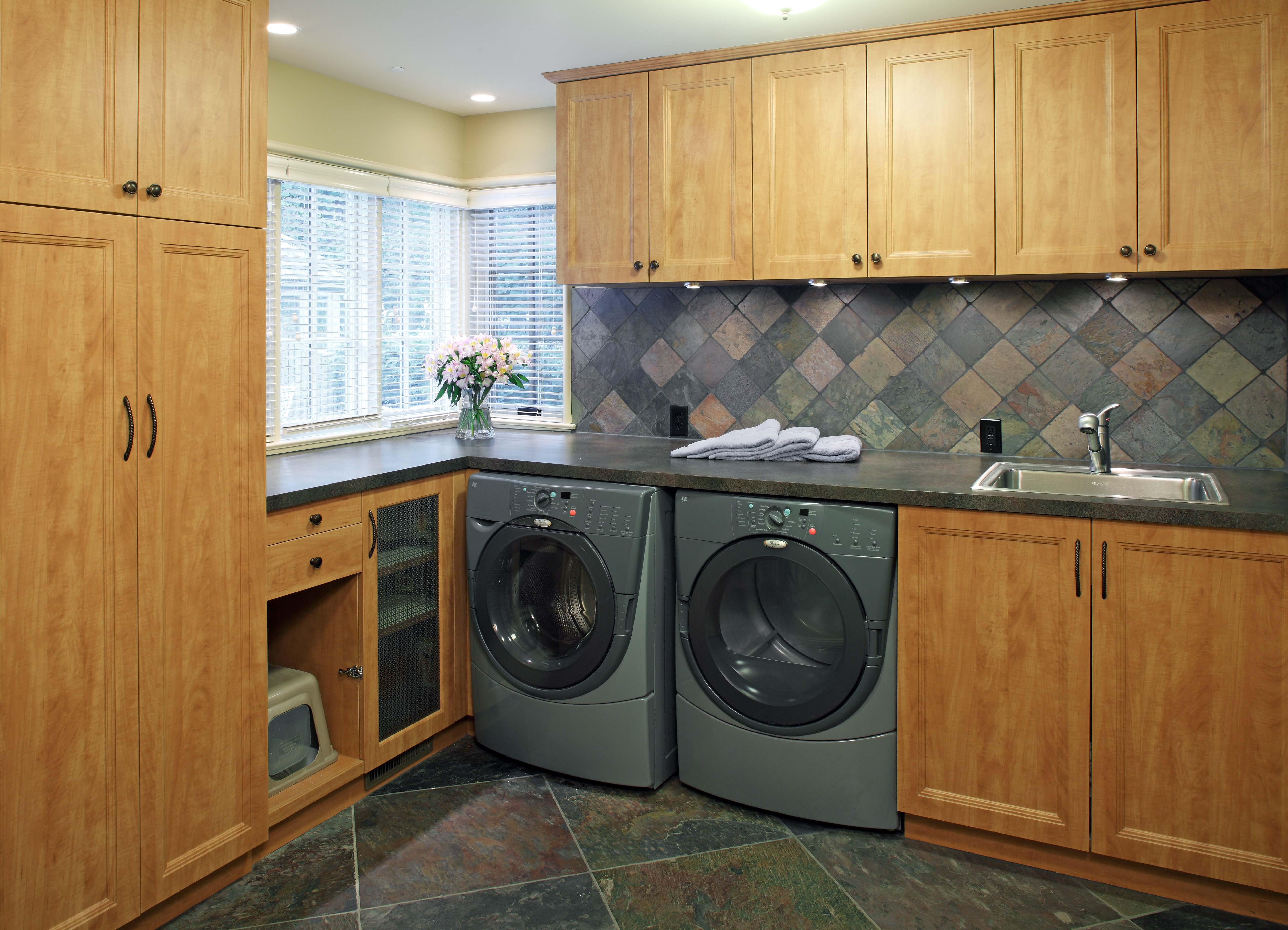 Wood Laundry Room Cabinets