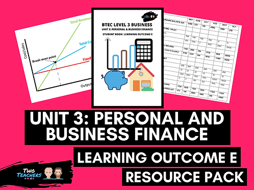 Unit 3: Personal & Business Finance Outcome E Resource Pack