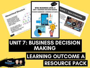 BTEC Business L3 Unit 7: Business Decision Making Learning Outcome A