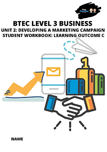 Marketing Student Unit Work Book Cover (
