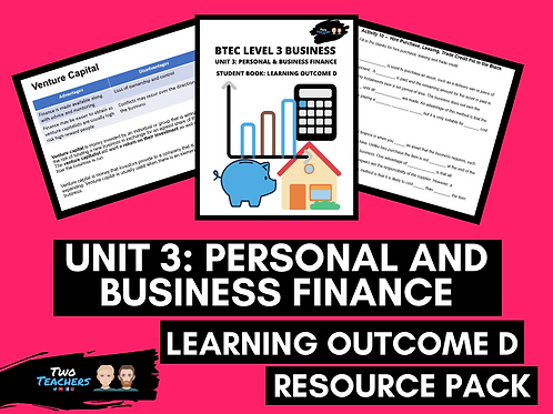 Unit 3: Personal & Business Finance Outcome D Resource Pack