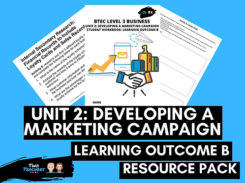 Unit 2: Developing a Marketing Campaign Learning Aim B | Resource Pack