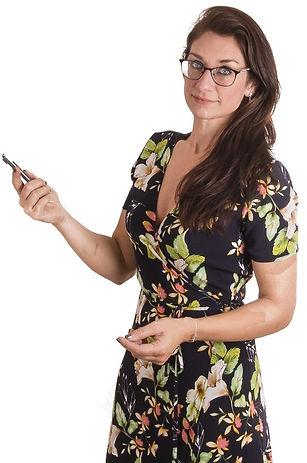 Dit ben ikzelf, Veerle Bammens met een gebloemd kleedje en bril en ik houd een pen in de lucht.