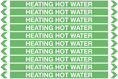 HEATING HOT WATER - Water Pipe Markers