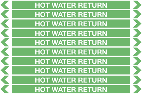 HOT WATER RETURN - Water Pipe Markers