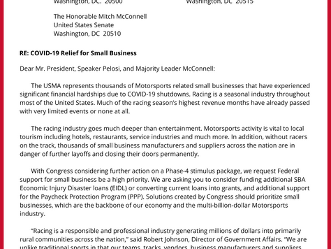 US Motorsports Association Submits Letter to President and CongressionalMajority Leaders to Support