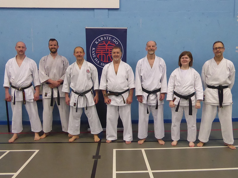 From left to right: Grant, Robin, Sensei Dmitrijevic, Sensei Armstrong, Gary, Heather, and Lloyd from KenZenIchi Kase-Ha Academy.