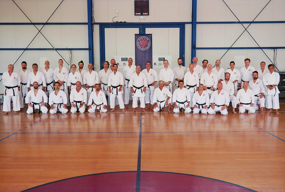 Group photo - karatekas from Greece, Serbia, Portugal, England, Sweden and Finalnd.