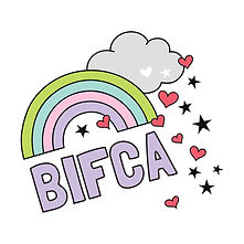 BIFCA logo with rainbow, cloud and love heart drawings surrounding it.