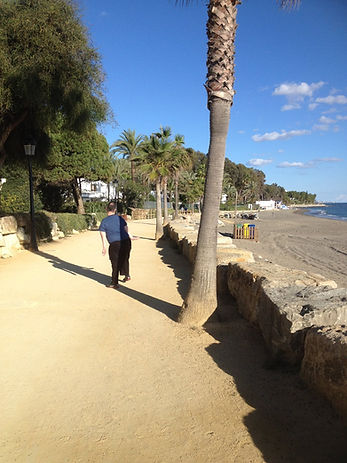 Bart Gee with disability called Arthrogryposis walking in Marbella Spain