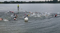 Bart Gee with disability called Arthrogryposis open water swim at Cotswold Water Park