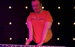 Bart Gee with disability called Arthrogryposis playing piano at Edge Church Bristol