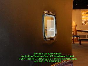 Beveled Glass Rear Window of the 1907 Studebaker Garford on MotometerCentral.com