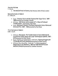 2016 Jean S. Argetsinger Symposium Schedule Page Two on MotometerCentral.com