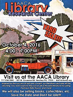 AACA Library 2016 Fall Yard Sale Poster & Website Page Link on MotometerCentral.com