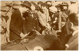 ussilini examining the 1923 Italian and European Grand Prix Winning Car and Driver