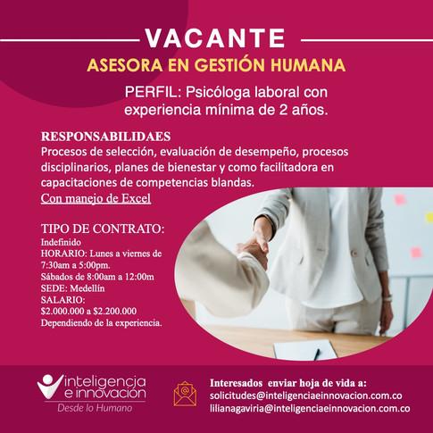 Asesora en gestión Humana_vacante