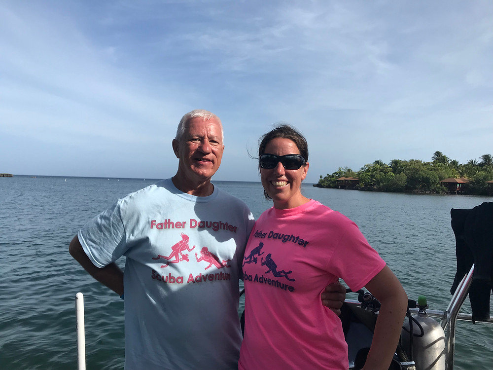 Showing off our matching trip shirts.