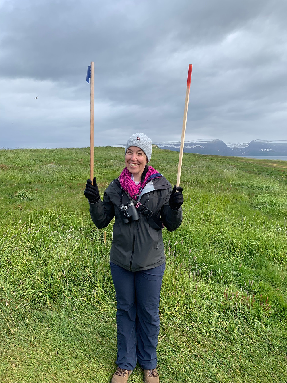 Brianna holding sticks for the Arctic Tern