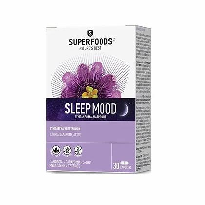 Superfoods Sleep Mood Συμπλήρωμα Διατροφής για Αϋπνία, Χαλάρωση & Άγχος 30Caps.