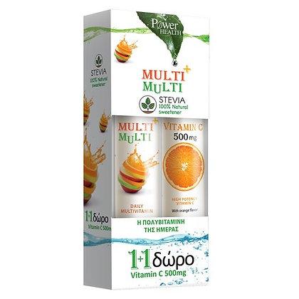 Power Health Multi+Multi Συμπλήρωμα Διατροφής με Γλυκαντικό από Στέβια+Δώρο V.C.