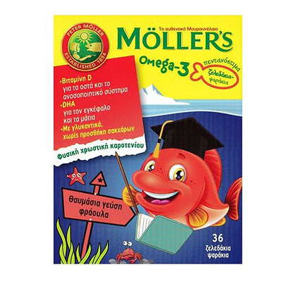 Mollers Omega-3 Ζελεδάκια-Ψαράκια με Γεύση Φράουλα 36τμχ