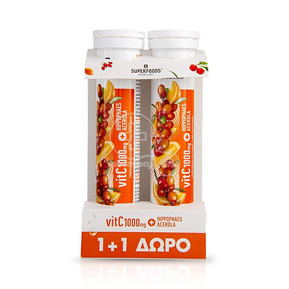SUPERFOODS - PROMO PACK 1+1 ΔΩΡΟ VitC 1000mg & Hippophaes Acerola - 20eff.tabs
