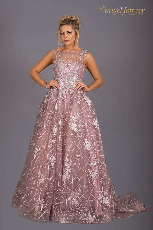 High Neck Heavy Lace Ballgown With Trail