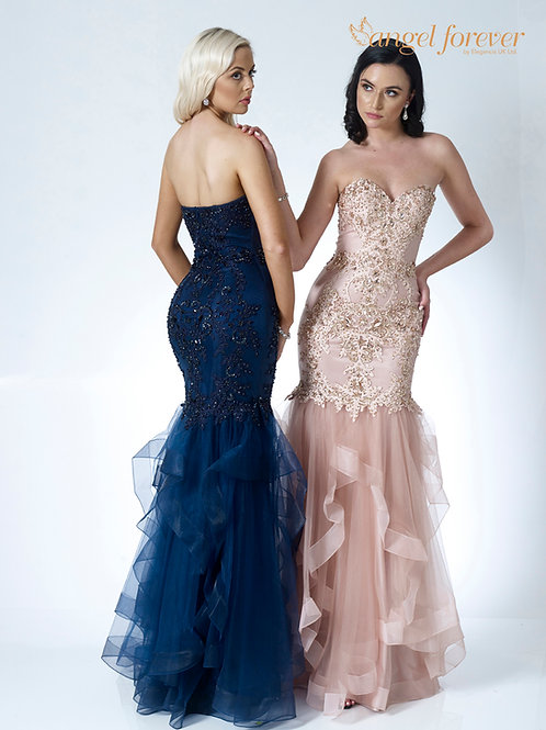 Lace & Tulle With Sweetheart Neckline With Ruffle Skirt