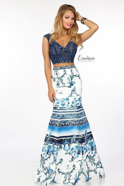 Envious Couture - BEADED TULLE/PRINTED MATTE SATIN  - 18084