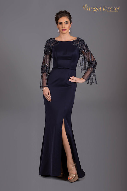 Heavily Satin & Long Sleeves With Lace Beading