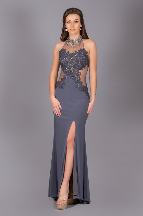 Jersey Long Dress with Lace & Mesh On The Sides