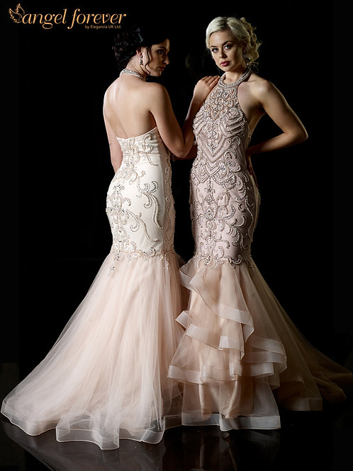 Tulle With Pearl & Crystal Beaded With Ruffle Skirt