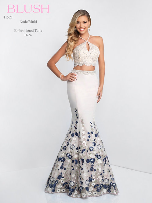 Blush/Embroidered Tulle - 11521