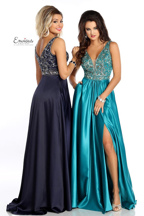 Envious Couture - BEADED TULLE/MATTE SATIN  - 18057